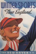 Vintage Travel Poster Winter Sports New England
